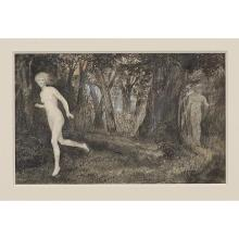 Edward Coley Burne-Jones, (British, 1833-1898), Daphne and Apollo, circa 1875, charcoal, ink and gouache, 6