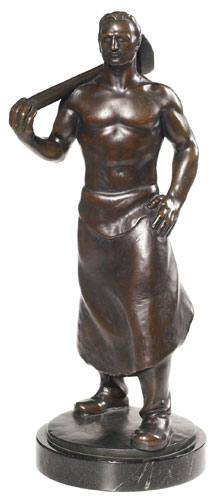 Powerful Carl Stock sculpture, 1876-1945, German, massive bronze of a man carrying a large hammer over his shoulder, good original patina, signed, mounted on a marble base, 21