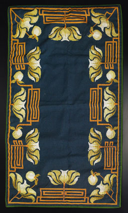 Arts & Crafts/Art Deco rug, unknown maker, ca.1936, floral motif in green, gold, off white and