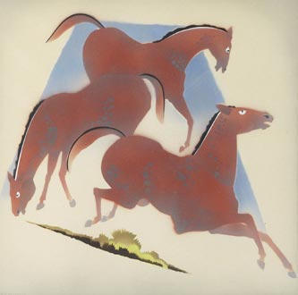 "William Hentschel ""Horses"", c. 1940; airbrush painting, 17"