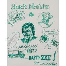 Bill Lynch, (American, 20th century), Butch McGuire's Happy XXV!, watercolor and ink on paper, 19