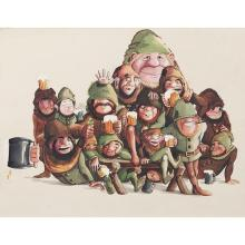 Artist Unknown , Butch McGuire's Staff depicted as Drunken Dwarfs, mixed media on paper, 14