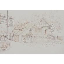 George Velich, (American, 20th century), Butch McGuire's, Mount Prospect, IL, ink on paper, 14 1/2