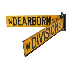 Chicago Interest A pair of vintage yellow Chicago street signs 26 1/2