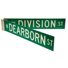 Chicago Interest A pair of vintage green Chicago street signs 37 1/2