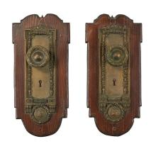 Architectural Hardware, of Chicago Interest Cook County mounted door plates set, two each with knobs plate with knob: 3 1/2