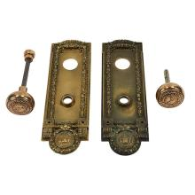 Architectural Hardware, of Chicago Interest Cook County door plates set, two each with Board of Education knobs plates: 3 1/2