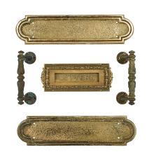 Architectural Hardware, of Chicago Interest (2) door plates, (2) door pulls, and a letters cover plate with hinged slot door plates:...