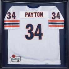 Chicago Sports Walter Payton framed replica jersey / Pilsner Urquell advertising frame: 37 1/2