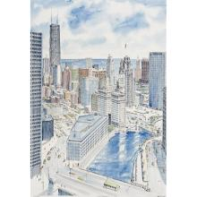 George Velich, (American, 20th century), Chicago Scenes (a pair), oil on canvas and color lithograph with watercolor, 19