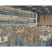 George Velich, (American, 20th century), Chicago Mercantile Exchange, color lithograph with watercolor, 15