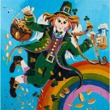 Paul Blaine Henrie, (American, 1932-1999), Leprechaun with Pot of Gold, Harp and Beer, Above a Rainbow, oil on canvas, 49