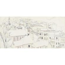 Bill Olendorf, (American, 1924-1996), Rooftops, ink on paper, 11 1/2