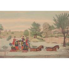 After James Pollard, (British, 1792-1867), The Mail Coach in a Flood (together with three works depicting hunting and horse riding,...