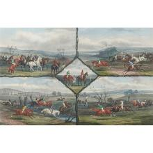 Edward Gilbert Hester, (British, 1843-1903), Steeple Chase Incidents and Coaching Incidents (a pair of works after William Shayer),...