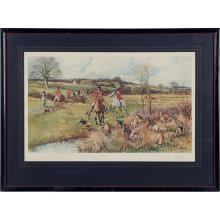 After Robert Hugh Buxton, (British, b. 1871), A Sure Find (together with three prints depicting hunting and sporting), various print...