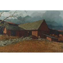 Eric Sloane, (American, 1905-1985), Red Barn, color lithograph, 16