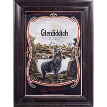 Vintage Liquor Advertising Glenfiddich: Scotch Whisky framed pub mirror overall: 29 1/8