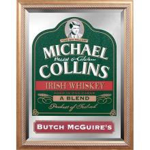 Liquor Advertising Michael Collins: Irish Whisky framed pub mirror with Butch McGuire's insert overall: 21 1/4