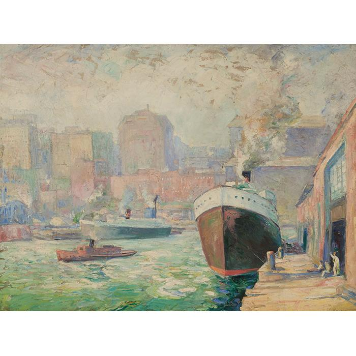 Walter Vladimir Rousseff, (Bulgarian/American, 1890-1979), Chicago River, oil on canvas, 30