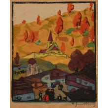 Herbert Gurschner, (Austrian, 1901-1975), Tyrol and Sunny Hill (a pair of works), color woodcuts, 8.25