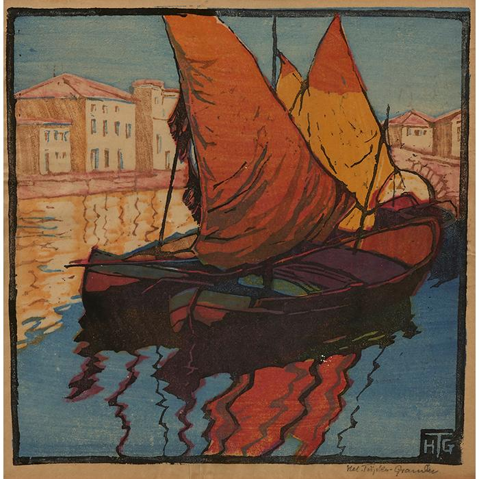 Helene Tupke-Grande, (German, 1871-1946), Sailboats on the Nile (together with two woodcuts by unknown artists), color woodcut, 9.5