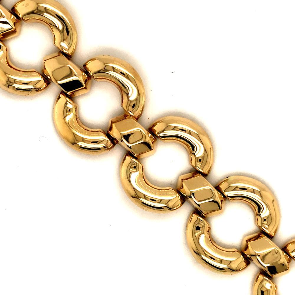 SIGNED MILOR 14K YELLOW GOLD WIDE LINK BRACELET