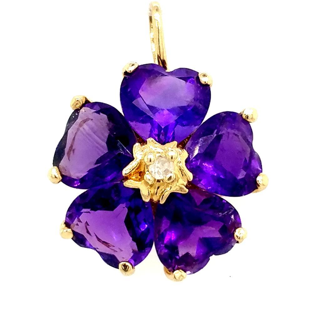 14K YELLOW GOLD AMETHYST & DIAMOND FLOWER PENDANT
