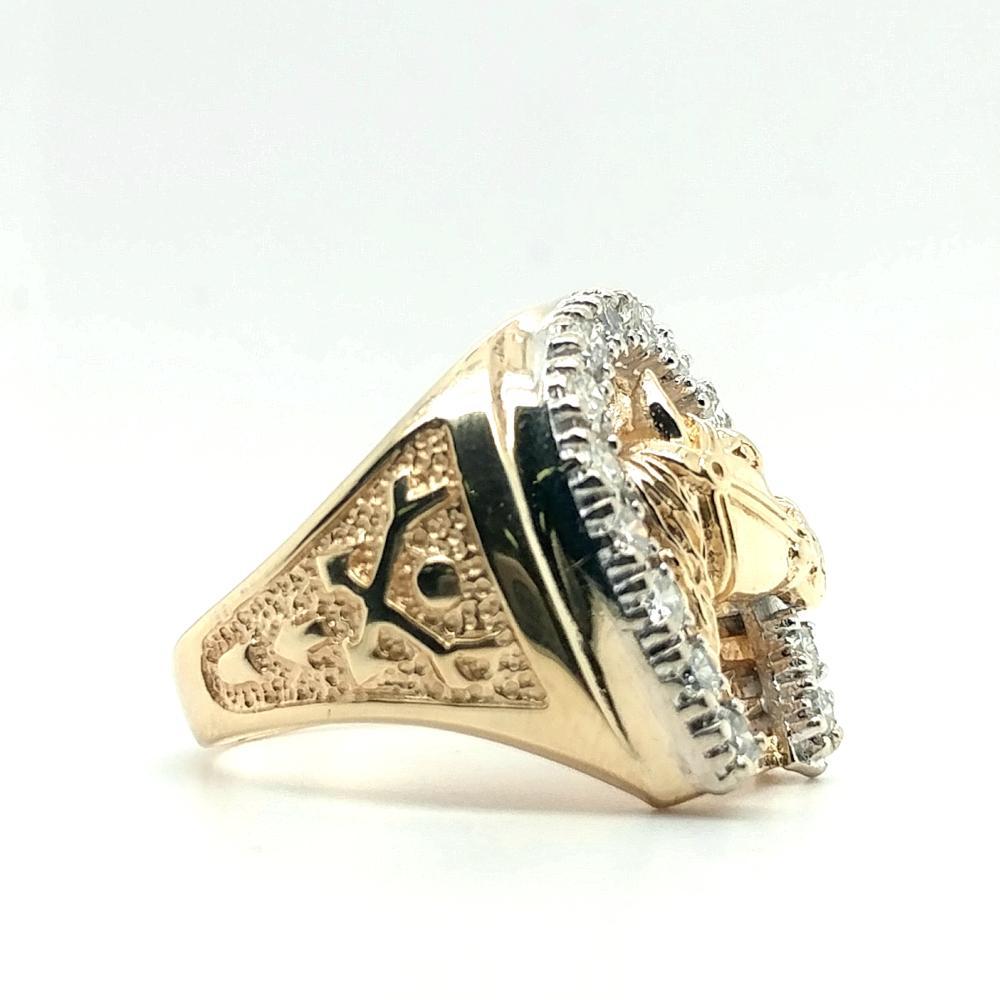14K YELLOW GOLD DIAMOND HORSEHEAD HORSESHOE RING