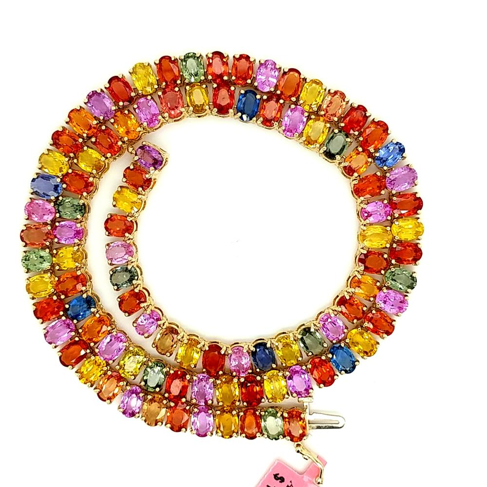 CERTIFIED 14K GOLD RAINBOW SAPPHIRE NECKLACE