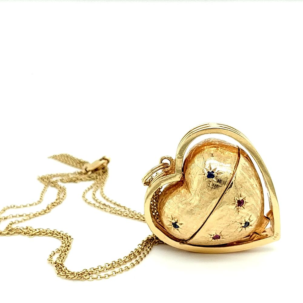 14K YELLOW GOLD MULTI-PHOTO HEART LOCKET NECKLACE