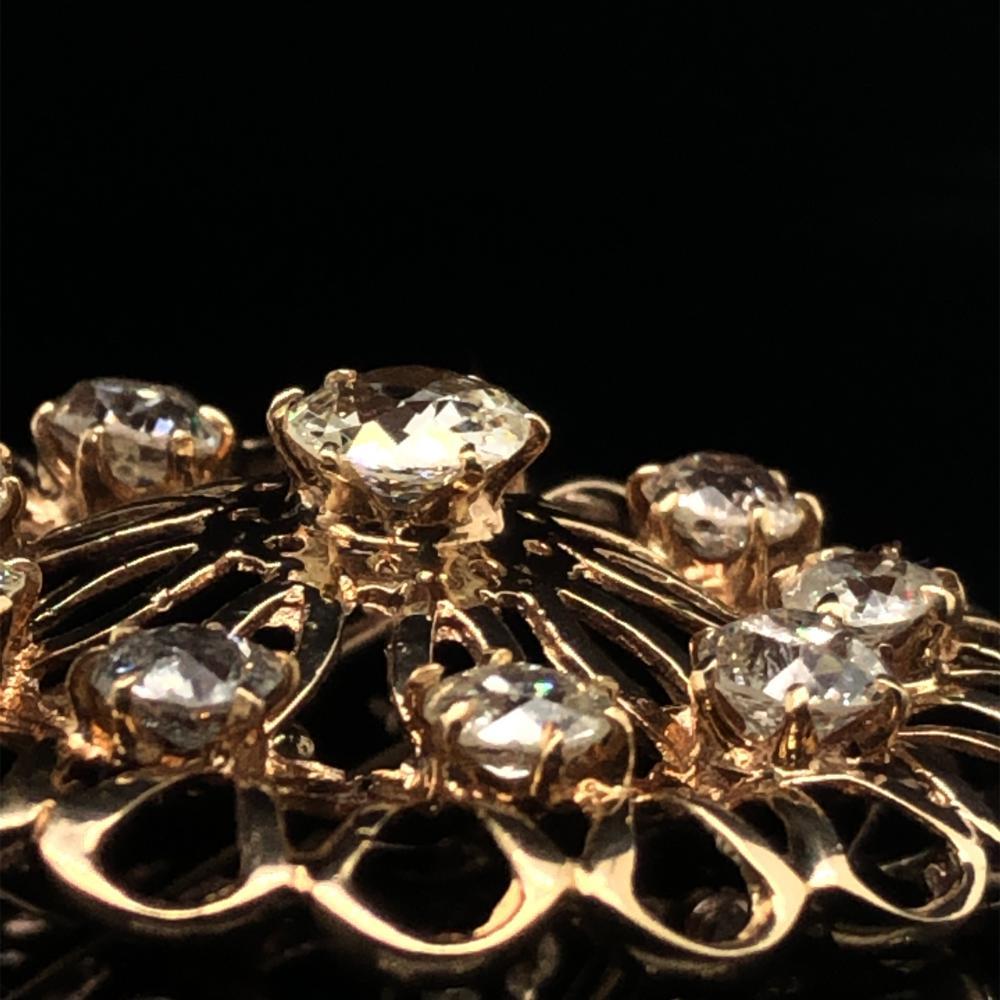 14K YELLOW GOLD OLD MINE CUT DIAMOND BROOCH