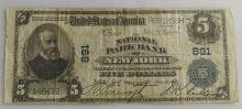 1902 Five Dollar (5.00) National Currency- National Park Bank of NY
