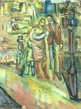"Daniela Ivanonvich Vassilieff (1897-1958) Oil on Board ""Family Street Scene"" C1940's -50's Russian Emigre & a Dynamic Figure in Australian Figurative Expressionism . One of the ""Angry Penguins"" alongside Sidney Nolan, Arthur Boyd.50.5 x 38cm"