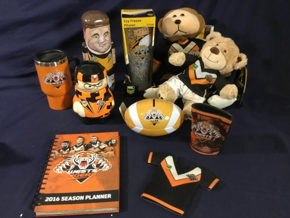 'West Tigers' Football Merchandise x 10 Items - 'Some New' - (Largest Teddy 39 x 19cm)