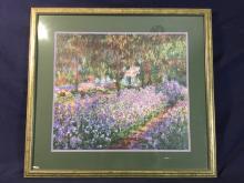 "Claude Monet (1849-1926) ""Irises in Monet's Garden""(1900) - Quality Double Matted Print in Gilt Frame 70.5 x 65.5cm"