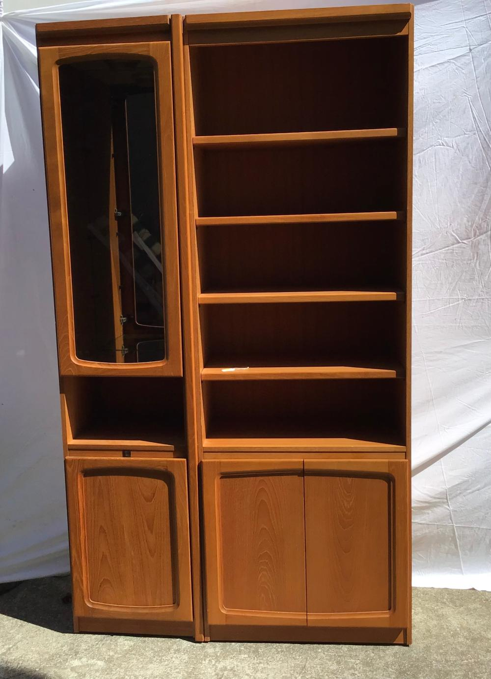 """MCM Mid Century Modern """"Chiswell"""" Display Units- 2 Pieces , Made 1983, One Side With Mirrored Background with Glass Shelves,Door & DownLight, the other with Shelves on top & Solid doors below. 205cm H x 130cm L x 40cm W"""