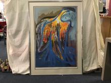 "Charles Blackman - (b.1928) Seriograph ""Firebird"" (Iconic Blackman Image) 37/100 Embossed LL. Hand Signed LR 136 x 99cm"