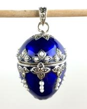 Sterling Silver & Blue Enamel Egg Locket
