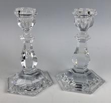 Pair of Baccarat Crystal Short Candlesticks