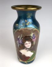 Art Nouveau Enamel Portrait Vase