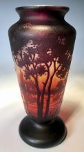 Daum Nancy Signed Scenic Cameo Glass Vase