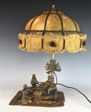 Rare Antique Harem Vienna Bronze Orientalist Lamp