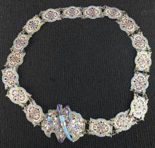Russian Silver Gilt and Enamel Belt
