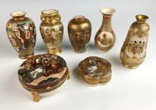 7 Small Satsuma Vases & Covered Boxes Meiji Per.