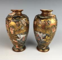 Pair of Thousand Faces Satsuma Vases Meiji Period
