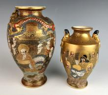 Pair of Thousand Faces Satsuma Vases Meiji Per.