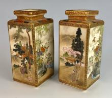 Pair of Fine Satsuma Meiji Period Square Vases