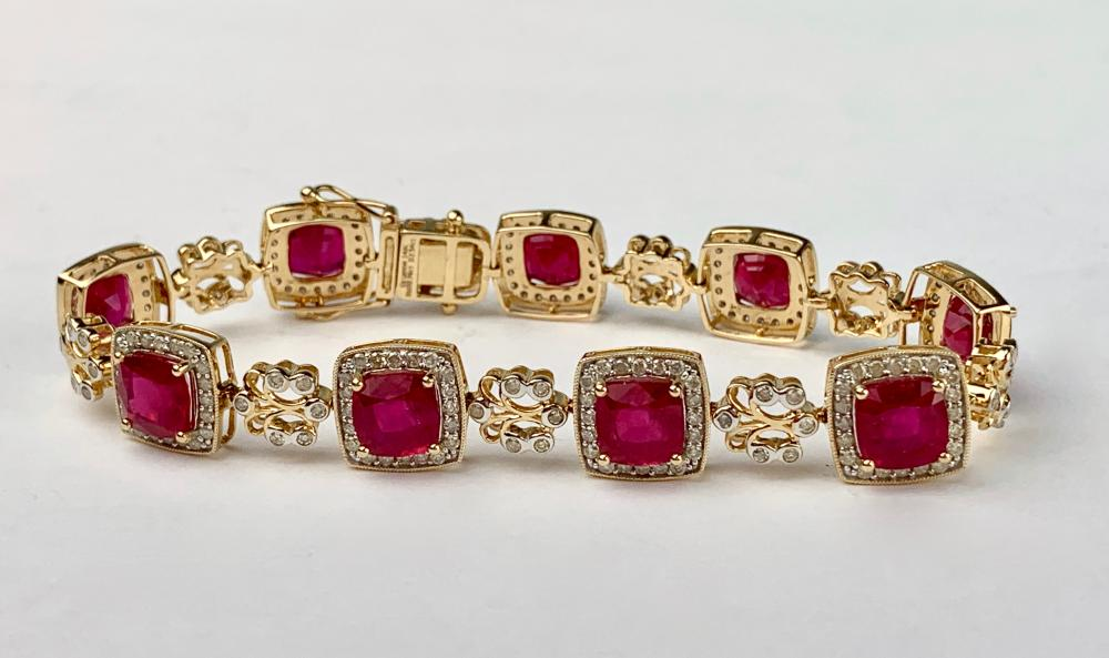 ladies ruby diamond 14k yellow gold bracelet. Black Bedroom Furniture Sets. Home Design Ideas