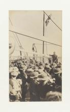 Photograph of Colonel William Holmes addressing troops on HMAS Berrima